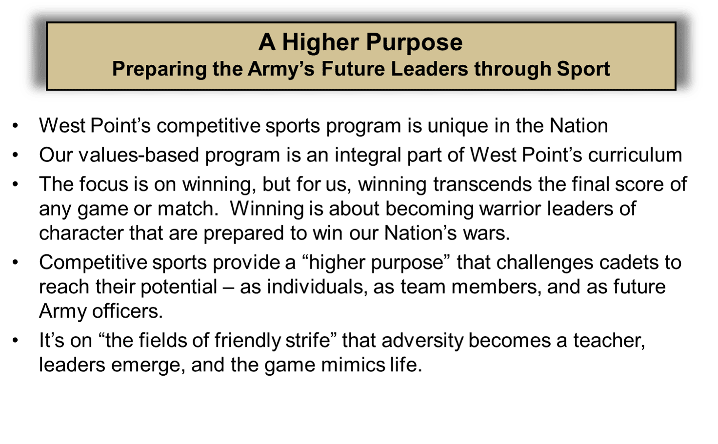 Preparing future leaders through sport