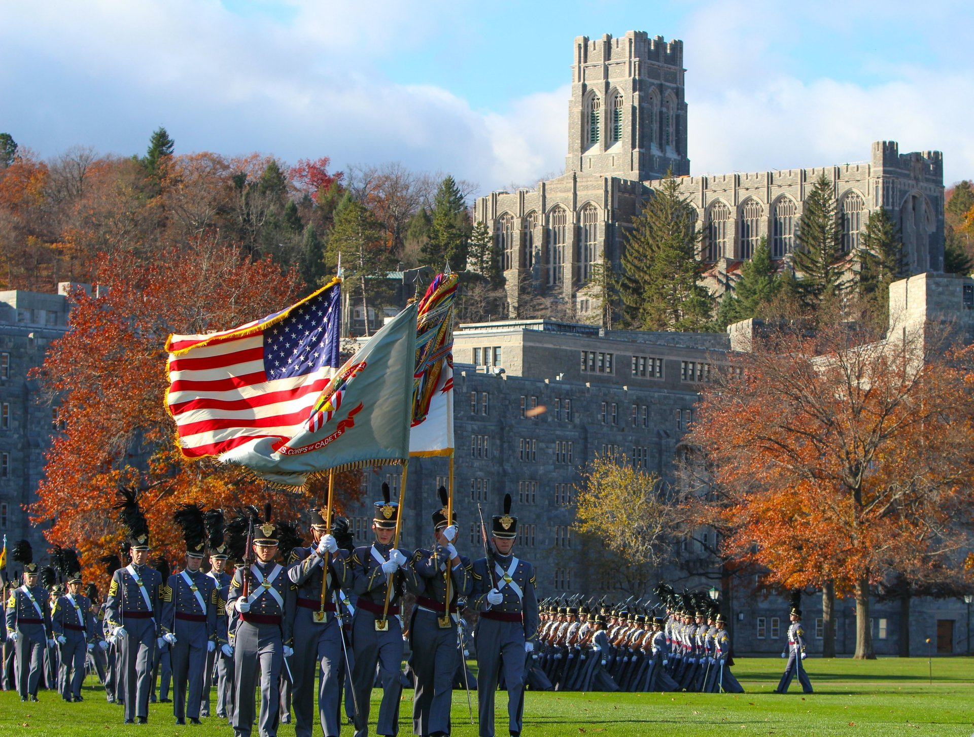 Cadets marching in front of Washington Hall