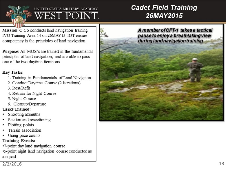 Cadet Field Training 2015