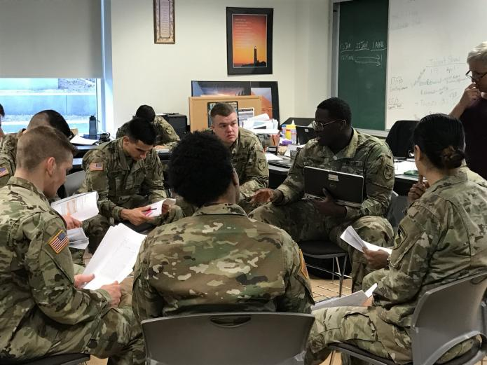 Cadets reading in classroom at USMAPS