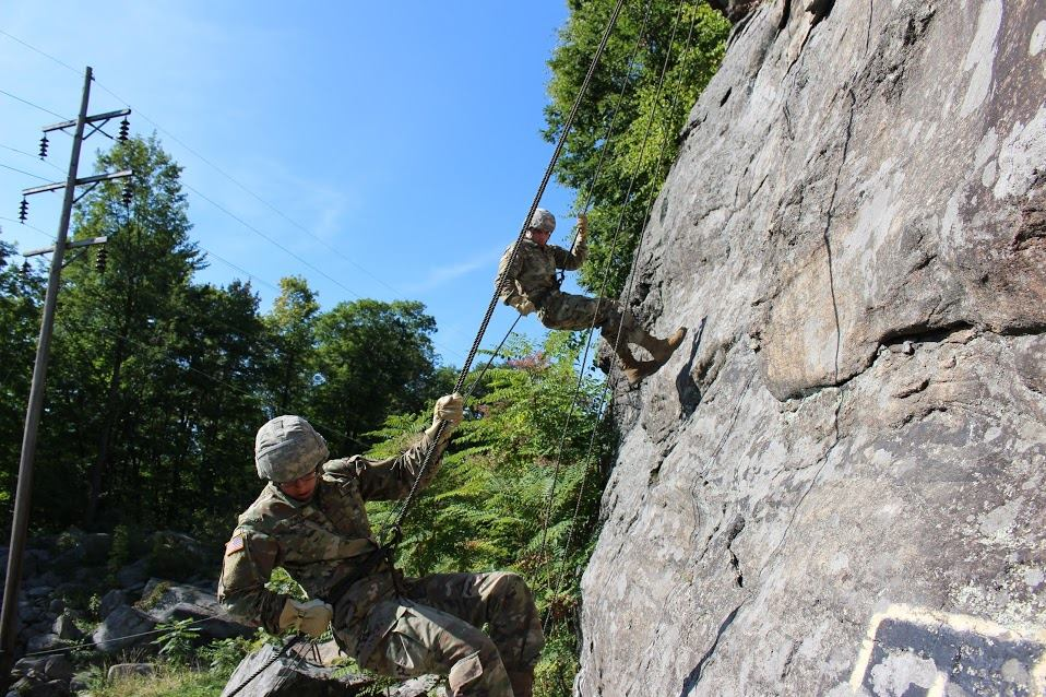 Cadet Candidates rappel a 90ft rock face during Fall Field Training Exercise (FTX).