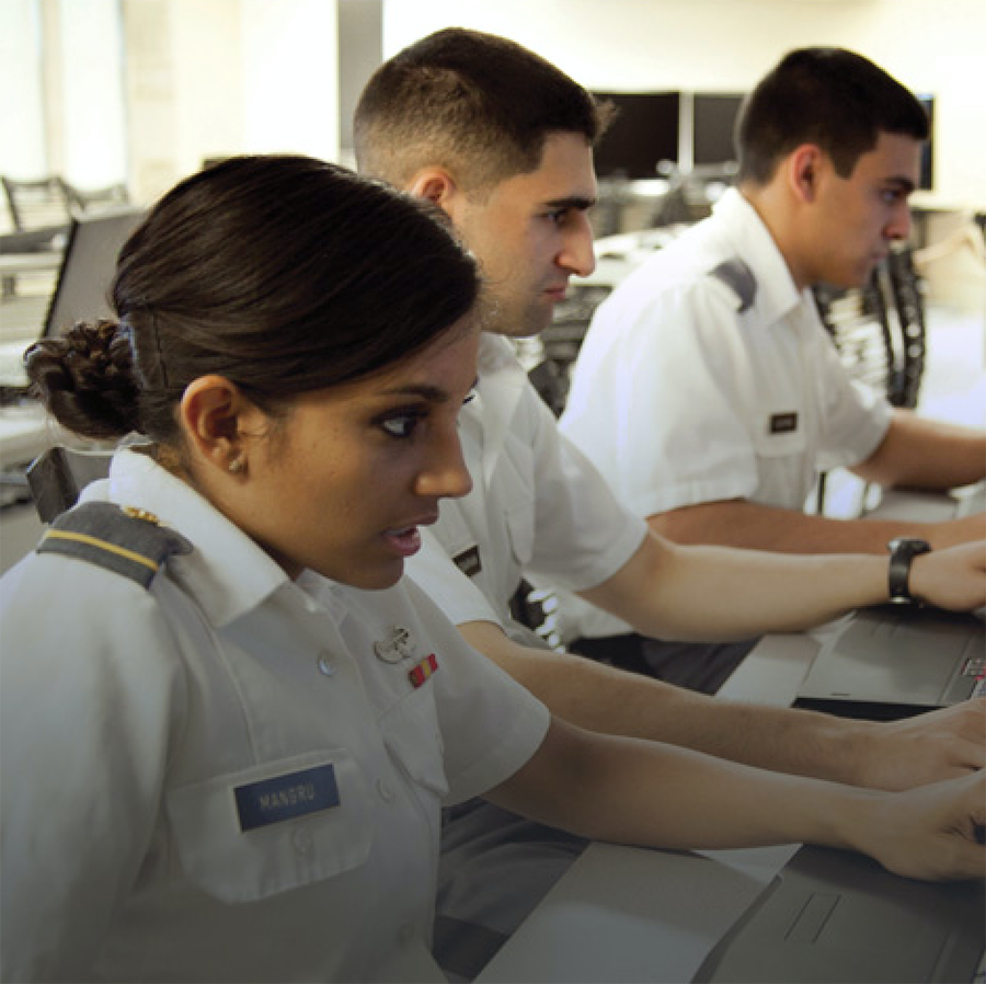 Cadets Studying in a Computer Lab