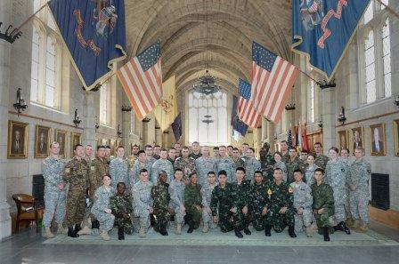 Photo of international cadets at West Point