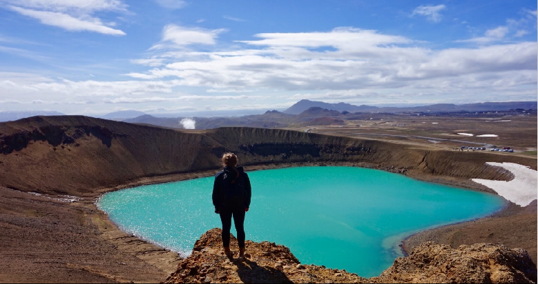 Cadet Emma Record overlooks the Krafla caldera in the Myvatn region of Iceland.>From Media Library