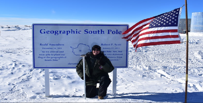 Cadet Ian Nadolny visits the Geographic South Pole in Antarctica during an academic trip hosted by the National Science Foundation.>From Media Library