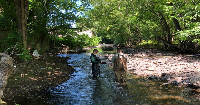 Cadet Matthew Volpe creates a stream cross-section at Black Creek Preserve in Ulster County, NY. >From Media Library