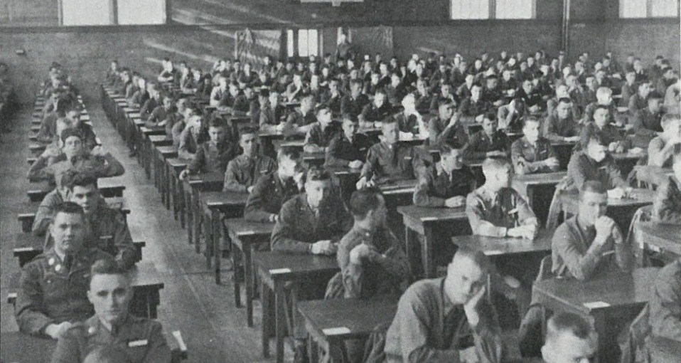 Cadet Candidates await an exam inside the gymnasium at Stewart Army Airfield, 1951.>From Media Library