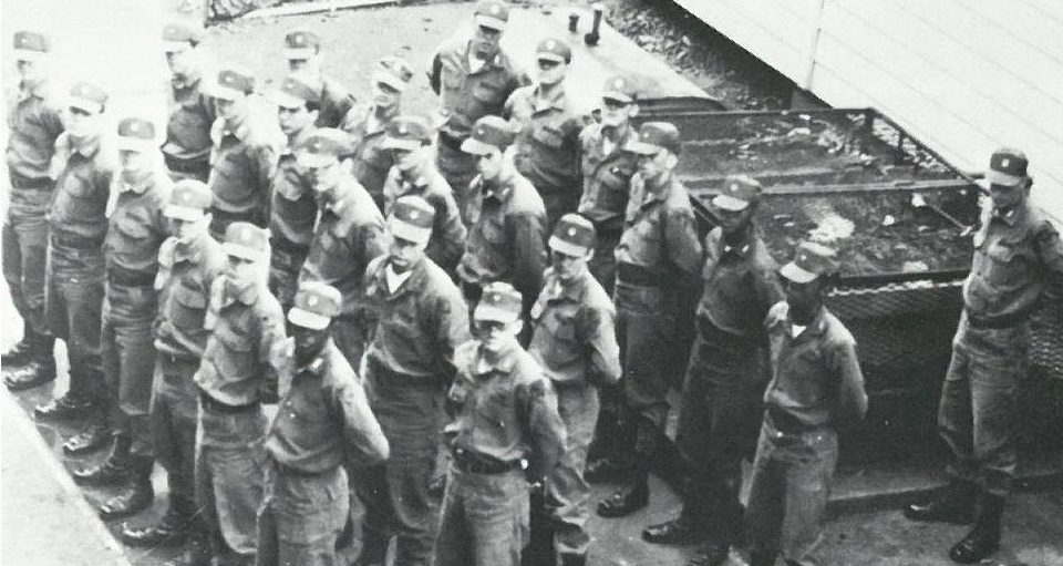 A Cadet Candidate platoon recieves a block of instruction while in formation, 1966.>From Media Library
