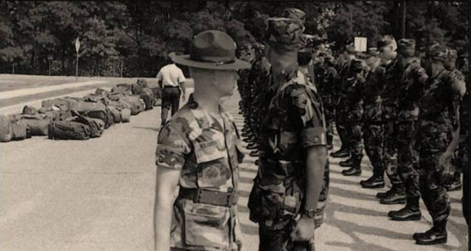 A Drill Sergeant inspects the Cadet Candidates during Cadet Candidate Basic Training, 1989.>From Media Library