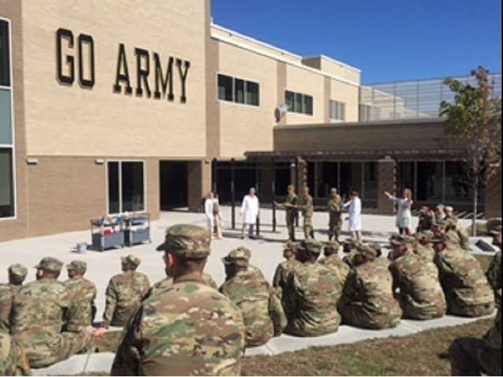 Cadets meet outdoors and observe science demonstrations by USMAPS faculty.>From Media Library